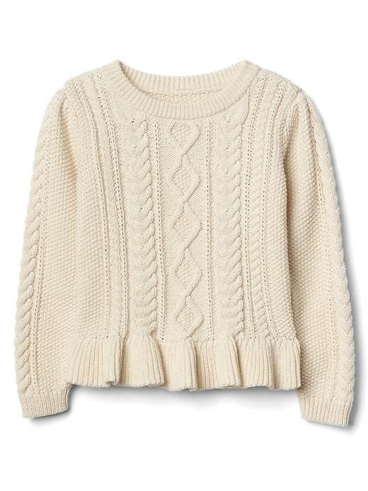 Gap Cable Knit Peplum Sweater - Off white