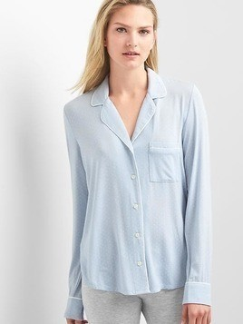 Gap Pure Body Lightweight Sleep Shirt - Ice blue dots