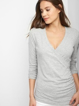 Gap Crossover Nursing Top - Heather grey