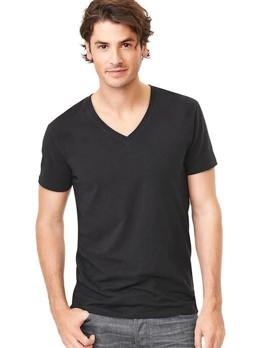 Gap V Neck Stretch Tee - Basic black