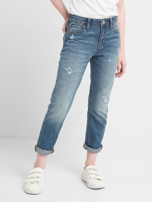 Gap Distressed Girlfriend Jeans - Medium wash