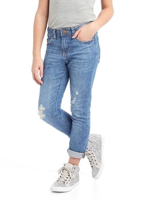 Gap 1969 Destructed Stretch Girlfriend Jeans - Medium wash