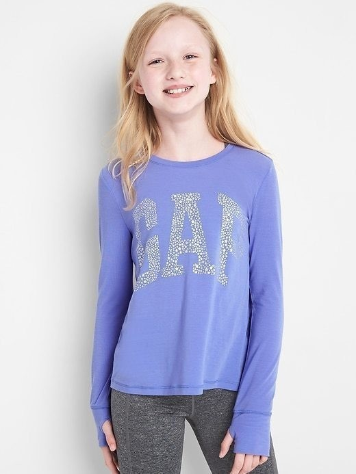 Gapfit Kids Embellished Long Sleeve Tee - Periwinkle plus