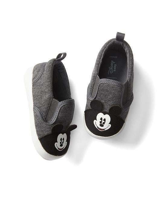 Babygap &#124 Disney Baby Mickey Mouse Slip On Sneakers - Light heather grey b08