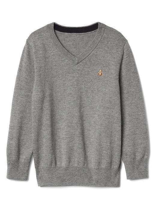 Gap V Neck Luxe Sweater - Grey heather