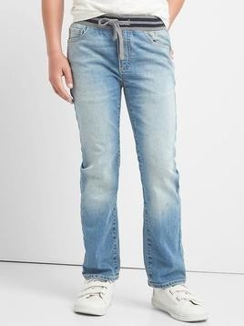 Gap Stretch Pull On Straight Jeans - Light wash
