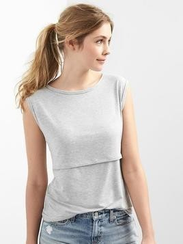 Gap Stripe Cap Nursing Tee - Light grey heather
