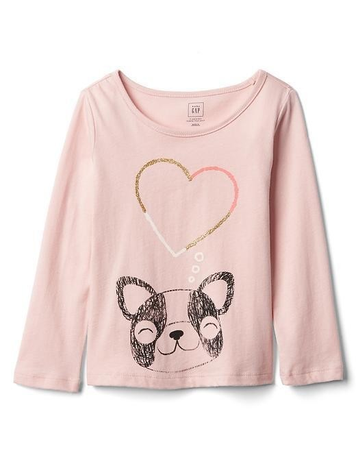 Gap Embellished Graphic Long Sleeve Tee - Puppy love