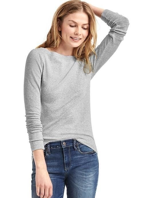 Gap Modern Long Sleeve Boatneck Tee - Lt heather grey