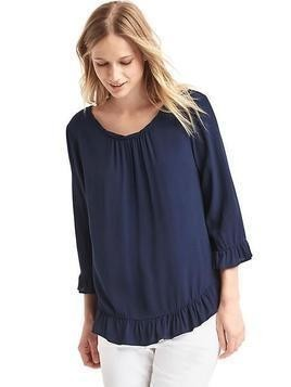 Gap Solid Ruffle Blouse - Blue uniform