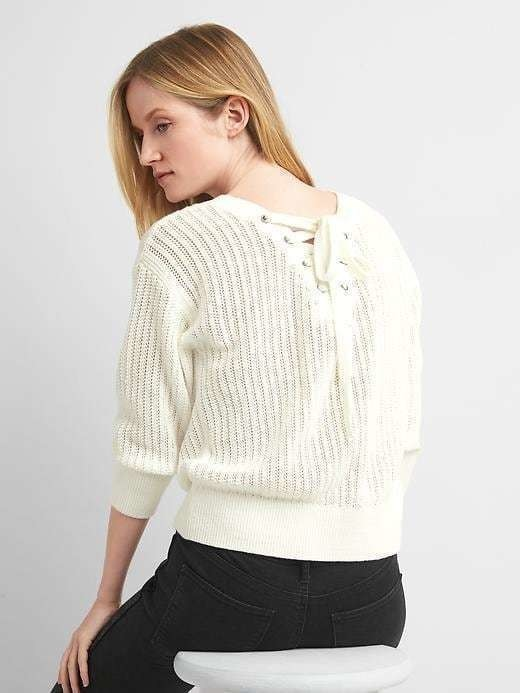 Gap Lace Back Three Quarter Sleeves - Milk