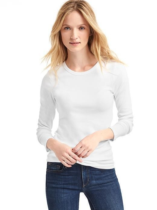 Gap Modern Long Sleeve Crew Tee - Optic white