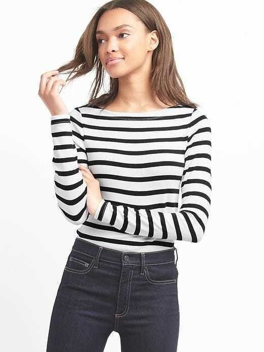 Gap Stripe Long Sleeve Modern Boatneck - Black stripe