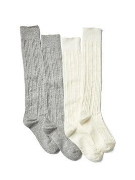 Gap Cable Knit Knee High Socks (2 Pack) - Ivory frost