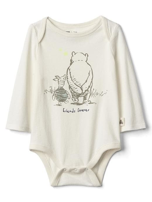 Babygap &#124 Disney Baby Winnie The Pooh Organic Long Sleeve Bodysuit - Ivory frost