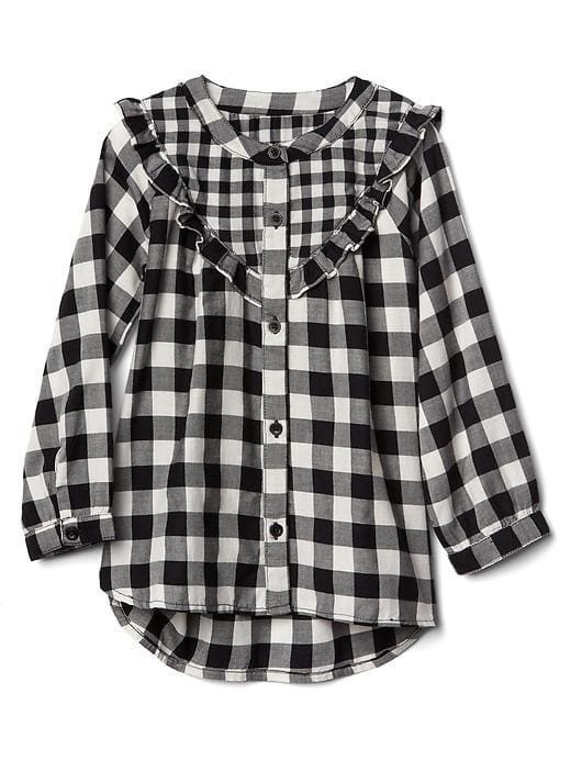 Gap Gingham Twill Ruffle Tunic - Blackandwhitecheck