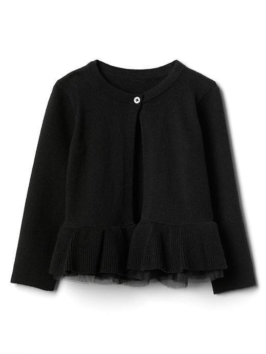 Gap Tulle Peplum Cardigan - True black