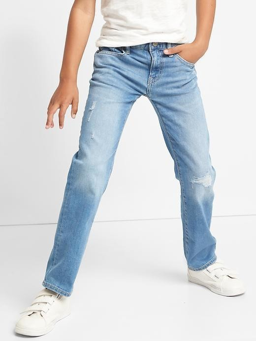 Gap 1969 Destructed Straight Jeans - Light wash