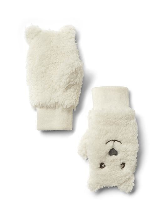 Gap Pro Fleece Bear Mittens - Ivory frost
