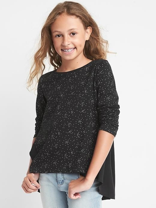 Gap Print Mix Fabric Hi Lo Tee - True black