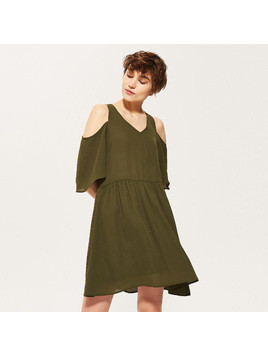 House - Zwiewna sukienka cold shoulder - Khaki