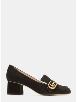 GG Mid-heel fringed Marmont Pumps
