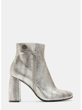 Metallic Snake Print Ankle Boots