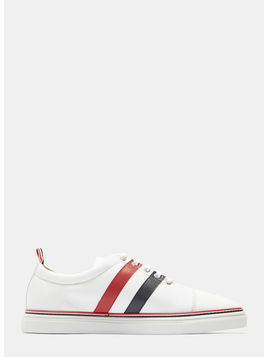 Striped Tech Leather Cap Sneakers