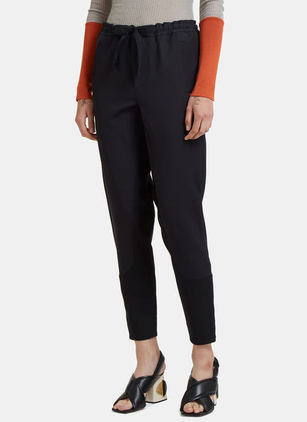 Contrast Zipped Cuff Twill Pants