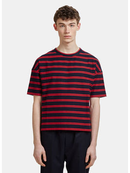 Striped Crew Neck Cotton Twill T-shirt