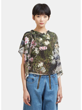Floral Print Silk Cropped Top