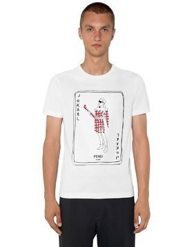 FITTED KARL PRINTED COTTON T-SHIRT
