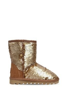 SEQUINED CANVAS & SUEDE BOOTS