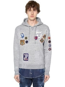 HOODED JERSEY SWEATSHIRT W/ DENIM HEM