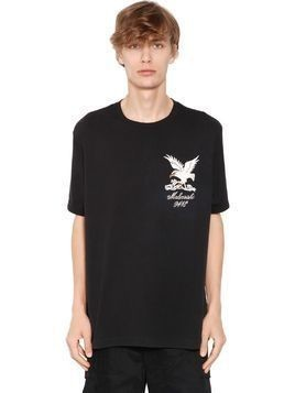 EAGLE EMBROIDERED COTTON JERSEY T-SHIRT