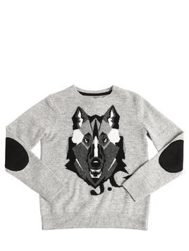 WOLF INTARSIA WOOL KNIT SWEATER