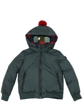 HOODED WATER RESISTANT NYLON DOWN JACKET
