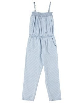 STRIPED COTTON CHAMBRAY JUMPSUIT