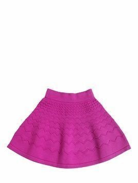 ZIGZAG EMBOSSED VISCOSE KNIT SKIRT