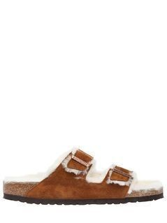 ARIZONA SHEARLING&SUEDE SLIDE SANDALS