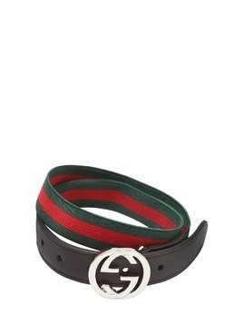 ELASTIC BELT WITH LEATHER DETAILS