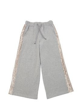 WIDE LEG COTTON PANTS W/ SEQUINS