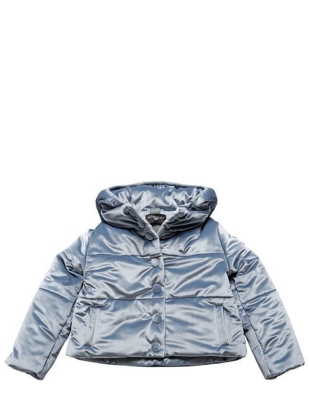 HOODED VELVET PUFFER JACKET