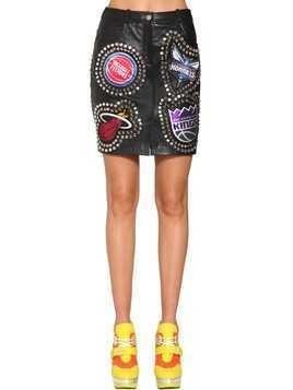 STUDS & PATCHES LEATHER MINI SKIRT