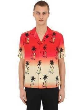 PALM PRINT VISCOSE POPLIN SHIRT