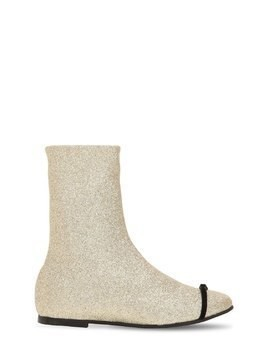 GLITTERED NEOPRENE ANKLE BOOTS