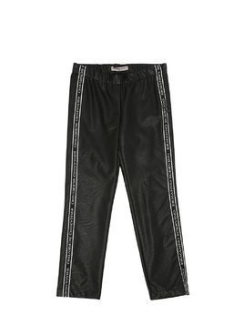 SKINNY LOGO BANDS FAUX LEATHER PANTS