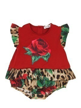 ROSE PRINTED COTTON POPLIN BODYSUIT