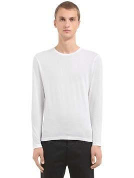 FINE COTTON CASHMERE LONG SLEEVE T-SHIRT