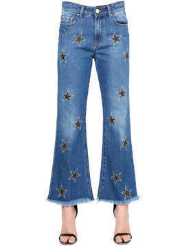 STARS EMBROIDERED FLARED DENIM JEANS